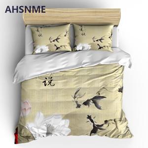 AHSNME Elegante Lotus Juegos de cama Pintura china Funda nórdica Funda de almohada 2 / 3pcs Juego de cama Flor Ropa de cama Queen King Size
