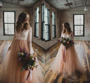 جديد رائع ألف خط فساتين زفاف الخامس عنق طويل الأكمام الدانتيل تول بوهيميا جاردن بيتش الزفاف زائد الحجم أثواب الزفاف Vestidos دي Mariee