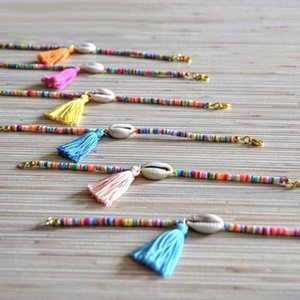 Fashion Shell Tassel Bracelets for Women Handmade Colorful Small Rice Bead Bracelet Gold Plated Summer Beach Adjust Party Jewelry