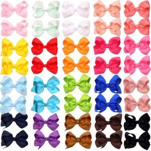 Hot Sale 3 Inch Boutique Hair Bow Girls Grosgrain Ribbon Hair Bow with Clips Hairpin Kids Hair Accessories 60pcs