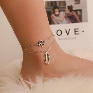 Gilrs Anklets 2 pcs Set Shell Charm Link Chain Anklet Bracelet Barefoot Sandals For Girls Ladies ( Antique Silver)
