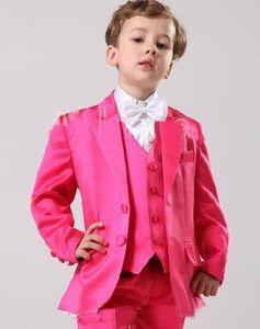 Fashion boys suits Two Buttons Tuxedos Notch Lapel Children Suit Pink Kid Wedding Prom Suits Boy's Formal Wear Tuxedo Kid Blazer