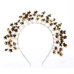 TUANMING Fashion Star Pattern Hairbands Gold Farbe Braut Haarschmuck Party Zeremonie Haarschmuck Hochzeit Braut Kopfschmuck C18122501