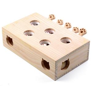 Solido in legno Cat Toy Puzzle Interactive Toys Whack A Mole Forma criceto divertente Scatola di legno Per Giocare Supplies Cat Doll