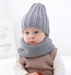 New warm draw children's hat plus bib baby warm hat autumn and winter children's knitted hat