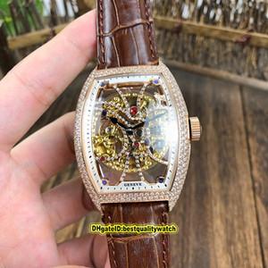 COLLEZIONE Luxry Cintree Curvex Uomo 8880 B S6 SQT D MVT D manopola di scheletro diamante dell'oro della Rosa di caso Automatic Watch Mens cinturino in pelle