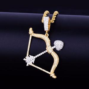 Arco e dei nuovi uomini di figura della freccia Collana in oro ciondoli d'argento di colore ghiacciato cubico zircone monili di Hip Hop con il tennis catena