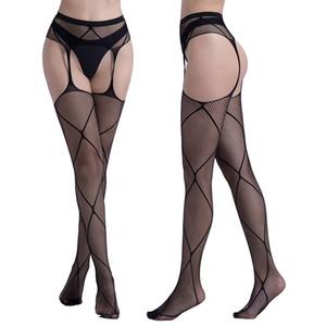 Femmes Sexy Lingerie Stripe Bas élastiques Bas TRANSPARENT BLACK SHIGHT SHIGH SHIGH SULLES Collants Broderie Pantyhose Droptship