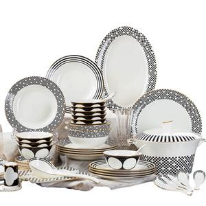 Noir et blanc rencontre couleurs dîner ensemble bone china beaux ensembles de vaisselle en Europe de parten haute densité