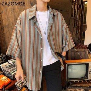 Men's Casual Shirts 2021 Summer Korean Men Loose Vertical Stripe Printing Cotton Turn-down Collar Short Sleeve Brand Shirt M-2XL