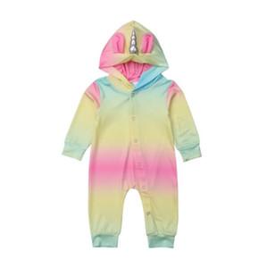 Оптовые капюшон Rompers младенца малыши дизайнер одежды мальчики Новорожденный единорог Скалолазание одежда Комбинезон ребенок дизайнер детской мальчик одежда BY0778