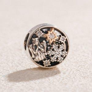Or 14K Noël 925 Perles en argent sterling merveilles célestes Charms Bijoux Bracelets Fits Pandora style européen et le collier 796363CZ