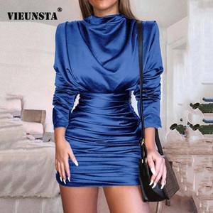VIEUNSTA donne O-collo pieno Sleeve Dress Pieghe Vestitino sexy Silky Slim Clubnight elegante del partito autunno aderente Vestidos