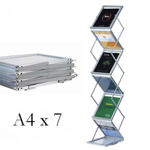 Brand New Hight Quality Aluminium Pieghevoli Opuscoli Libri Letterature Display Supporti Rack Stand By 6 Faces To Show