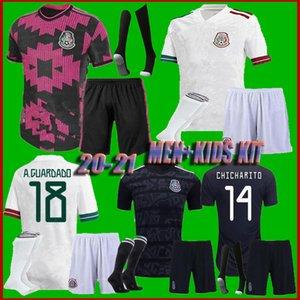 Çocuklar erkekler kiti + çorap 2020 Meksika Soccer formaları 20 21 H.LOZANO DOS SANTOS Chicharito milli takım çocuk spor futbol üniforma gömlek