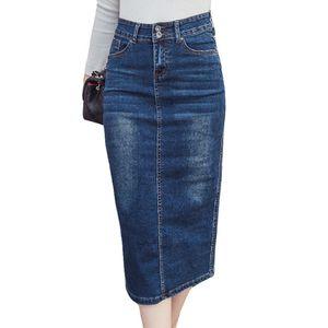 Jupe de denim longue 2018 Bouton Vintage Taille haute Crayon Bleu Bleu Slim Mift Jupes De Mince Plus Taille Dames Office Sexy Jeans Faldas Y190428