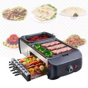 LEWIAOHot 냄비 BBQ 한 냄비 홈 한국 스타일의 비등 바비큐 기계 다기능 전기 베이킹 팬 바키 튀김 분리 할 수있다