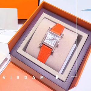 موضة جديدة عالية الجودة إمرأة ساعة اليد الفاخرة هيرم جلد طبيعي الكوارتز ساعات ماركة مصمم الماس ووتش هدية مع صندوق كيب كود