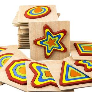 블록 유치원 장난감을 구축 어린이 나무 모양 퍼즐 도형 퍼즐 3D