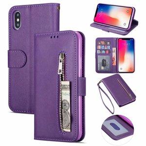 Etui portefeuille en cuir à glissière pour iPhone XR XS MAX X 8 7 6 Galaxy Note 10 Pro S10 S10e 9 8 Titulaire de la Poche Argent 3 Fente Pour Carte Support Stand Flip Cover