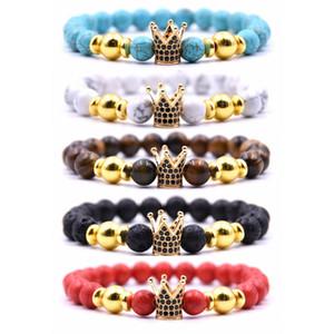 New fashion Couple designer bracelets men and women 2020 new bead bracelets micro-inlaid zircon crown free shipping