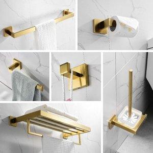 Gold Badezimmer Zubehör-Set 304 Edelstahl Toilettenpapierhalter WC-Bürstenhalter der Wand befestigte Brushed Badezimmerzubehör