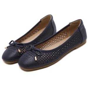Mais recente Bowtie PU Toe Rodada Buracos Mulheres preguiçosos sapatilhas Casual Shoes SIKETU Marca CX200720