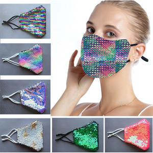DHL Livraison gratuite Mode Sequin bling bling Masque de protection anti-poussière lavable coupe-vent Réutiliser Masque élastique Earloop Masque bouche