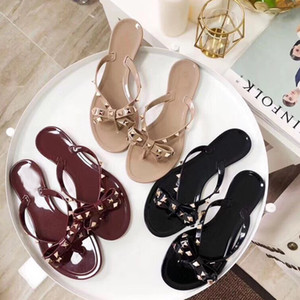 Classic Woman Summer Rivet slippers big bowknot Flip Flops sexy Beach Slipper Femininas Flat Jelly luxury Designer PVC Sandals Size 35-41