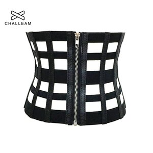 Cheap Women Feminino Ultra Wide Correia de couro para o vestido das senhoras Magro oco preto elástico Zipper Corpo Shaper Strap PU Corset Belt