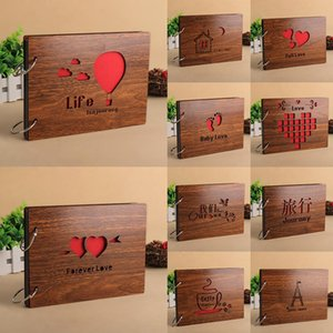 8 inch Vintage Wood Cover Photo Album Book Black Pages Anniversary Scrapbook Baby Growth Memory Life Photo Record Book