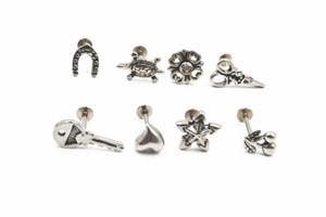 Shippment livre 50 pcs Corpo Jóias 16G jóia do corpo de aço Inoxidável Piercing no lábio Labret anel Ear Helix Cartilagem Studs NOVO