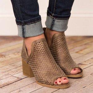 2019 Frauen Stiefel Low Heel Peep Toe Schuhe Hohlknöchel starke Ferse Roman Chic Mulheres de Sapatos De Salto Damen Stiefel