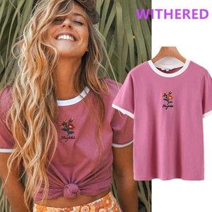 Davedi Ins Moda Blogger High Street Flor Emprodiery Verão Camiseta Mulheres Harajuku Camisetas Camisetas Verano Mujer 2020 Tops