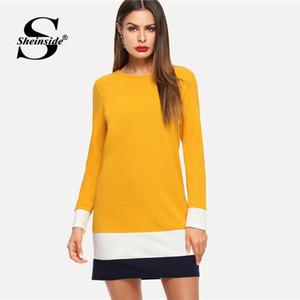 Sheinside Zencefil Renk Blok Tunik Elbise Kadın Sonbahar Giyim Uzun Kollu Shift Elbiseler 2018 Bayanlar Workwear Rahat Mini Elbise Y190425