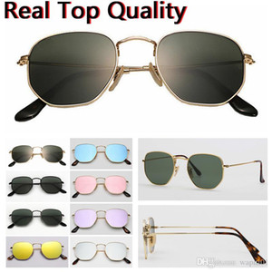 de alta calidad de 51 mm de metal de metal plat 3548 UV400 gafas de cabeza hexagonal plana gafas de sol de las mujeres de los hombres de la vendimia Marca Diseño retro de los vidrios de Sun Gafas de Sol