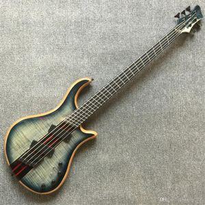 ShippingCustom libero qualità SHOP top multi-scala 5 corde del collo attraverso ventaglio basso elettrico chitarra pickup attivo Bass grecato