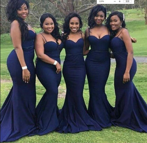 Dark Blue Mermaid Plus Size Bridesmaid Dresses Sexy Spaghetti Straps African Sweetheart Maid of Honor Gowns Custom Made Wedding Guest Dress