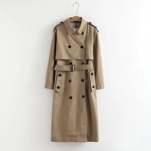 النساء مزدوجة الصدر أبلى سترة الأزياء الزنانير vee - أعلى مكتب ol معطف عارضة بلون معطف طويل خندق