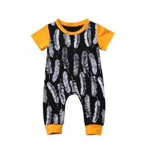 Pudcoco Newborn Kid Baby Girl Boy piuma manica corta in cotone dei vestiti tuta pagliaccetto Outfit
