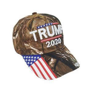 Gorra de béisbol de camuflaje Donald Trump Sombrero de la bandera de EE.UU. Keep America 2020 Gran Sombrero bordado 3D de la estrella Carta Camo ajustable del Snapback RRA3083