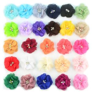 Аксессуары 27colors шифон цветы с Pearl Rhinestone центр искусственного цветка ткани Цветы Дети волос Детские ободки Цветок B11