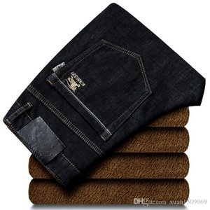 Winter stretch straight tube with velvet jeans men warm thick black slim long trousers men fashion