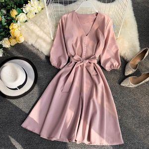 Neploe Spring Summer 2020 Women Dress Solid V-Neck Three Quarter Sleeve Vestidos Chic Sashes High Waist Knee-Length Robe 43082 MX200518