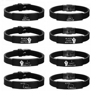Black Lives Matter Silicone Wristband I CAN'T BREATHE Black Silicone Stainless Steel Bracelet & Bangles For Men Women Party Favor RRA3134