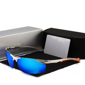 Occhiali da sole polarizzati Uomini di guida occhiali UV400 Designer Mercede alluminio magnesio Semi-senza orlo Occhiali da sole 8585