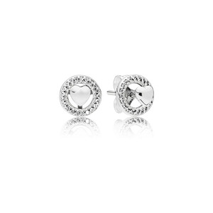 925 Sterling Silver Heart Stud Earring Brand Design Forever Heart with Crystal Cubic Zircon Studs Earring for Women Wedding Fashion Jewelry