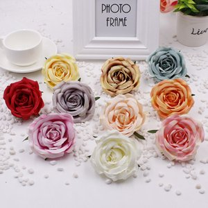 50pcs lot artificial flowers silk rose flower head diy paper flowers heads background wall wedding home decoration accessories