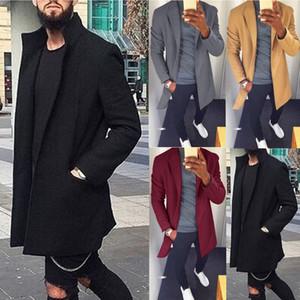 Otoño Invierno Hombres capa ocasional de la capa de negocios masculino espesar Trench Abrigo sólido clásico Mediano chaquetas largas Tops