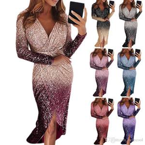 Slim Evening Dress Formal Party Deep V-Neck Bling Women'S Long Skirt Party Dress Long Sleeve Gradient Sequins Bodycon Evening Dress